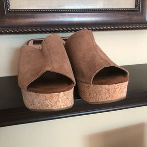 Suede Wedge Slides with Cork Heels